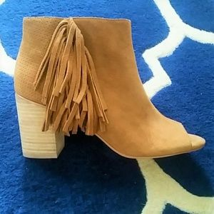Cognac Peep Toe Suede Ankle Booties with Fringe